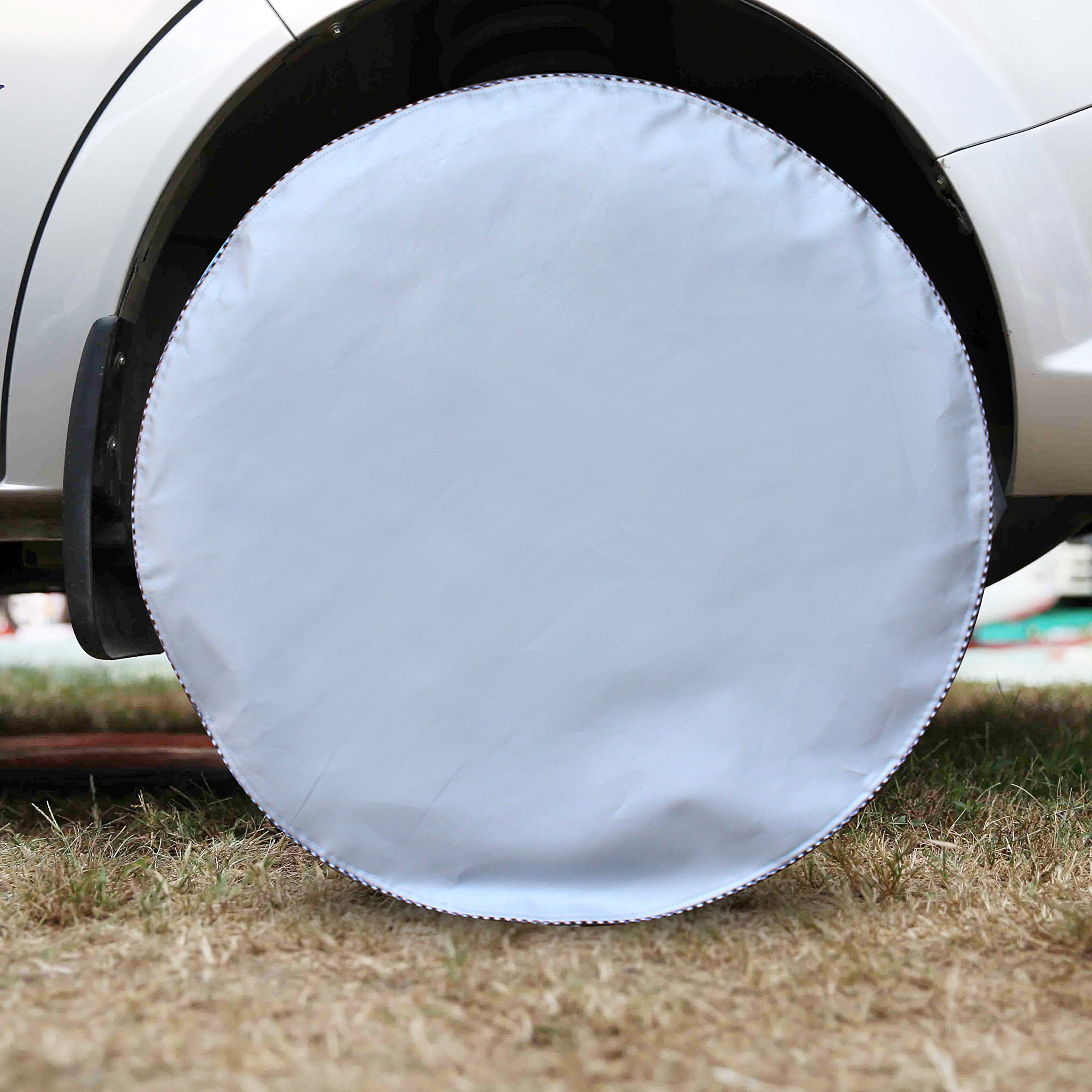 Mr.You Tire Covers For RV Auto Truck Car Camper Trailer Waterproof Sun-proof Fits 24'' to 26'' Tire Diameters 5 YR Warranty Silver 4 Pack by Mr.You (Image #3)