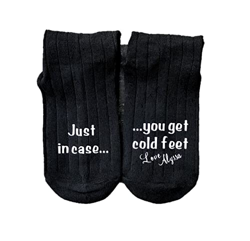 Text Printed on the Sole One size 6-12 Mens No Cold Feet Here with Date Socks