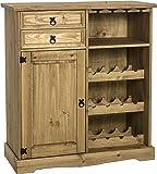 Seconique Corona Sideboard/Wine Rack Unit - Distressed Waxed Pine