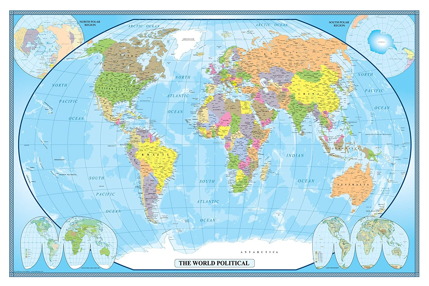 Amazon 24x36 world classic wall map poster paper folded amazon 24x36 world classic wall map poster paper folded office products gumiabroncs Image collections