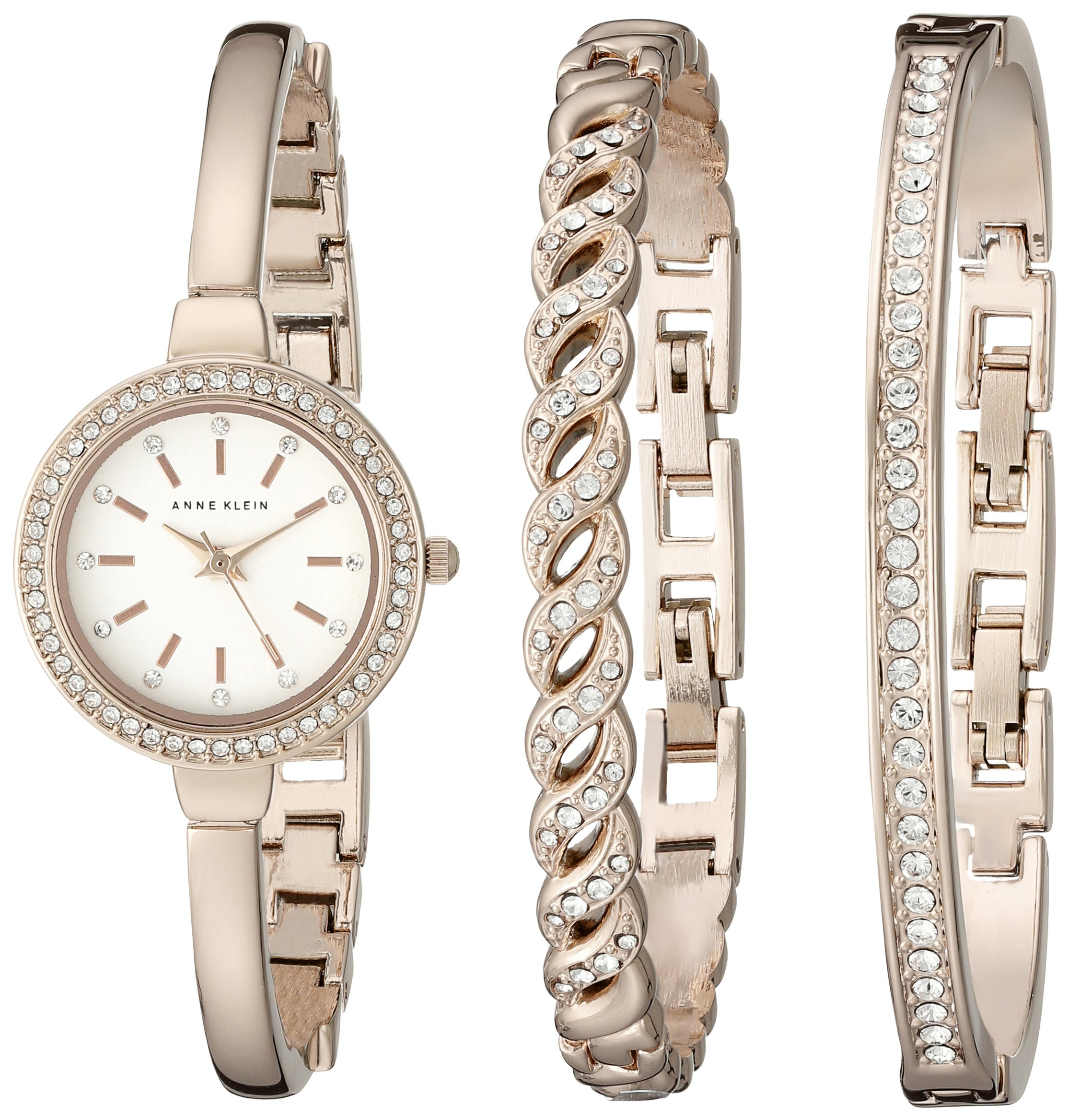 Anne Klein Women's AK/2046RGST Swarovski Crystal Accented Rose Gold-Tone Bangle Watch and Bracelet Set