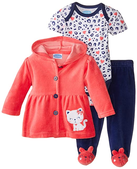 cfd309d5d60 Amazon.com: BON BEBE Baby-Girls Three-Piece Velour Jacket, Bodysuit, and Pant  Set: Clothing