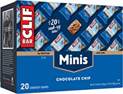 CLIF BARS - Mini Energy Bars - Chocolate Chip - Made with Organic Oats - Plant Based Food - Vegetarian - Kosher (0.99 Ounce S