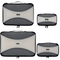 (Silver) - Pro Packing Cubes - 4 Piece Lightweight Travel Packing Cubes Set - Organisers and Compression Pouches System for Carry-on Luggage Accesories, Suitcase and Backpacking