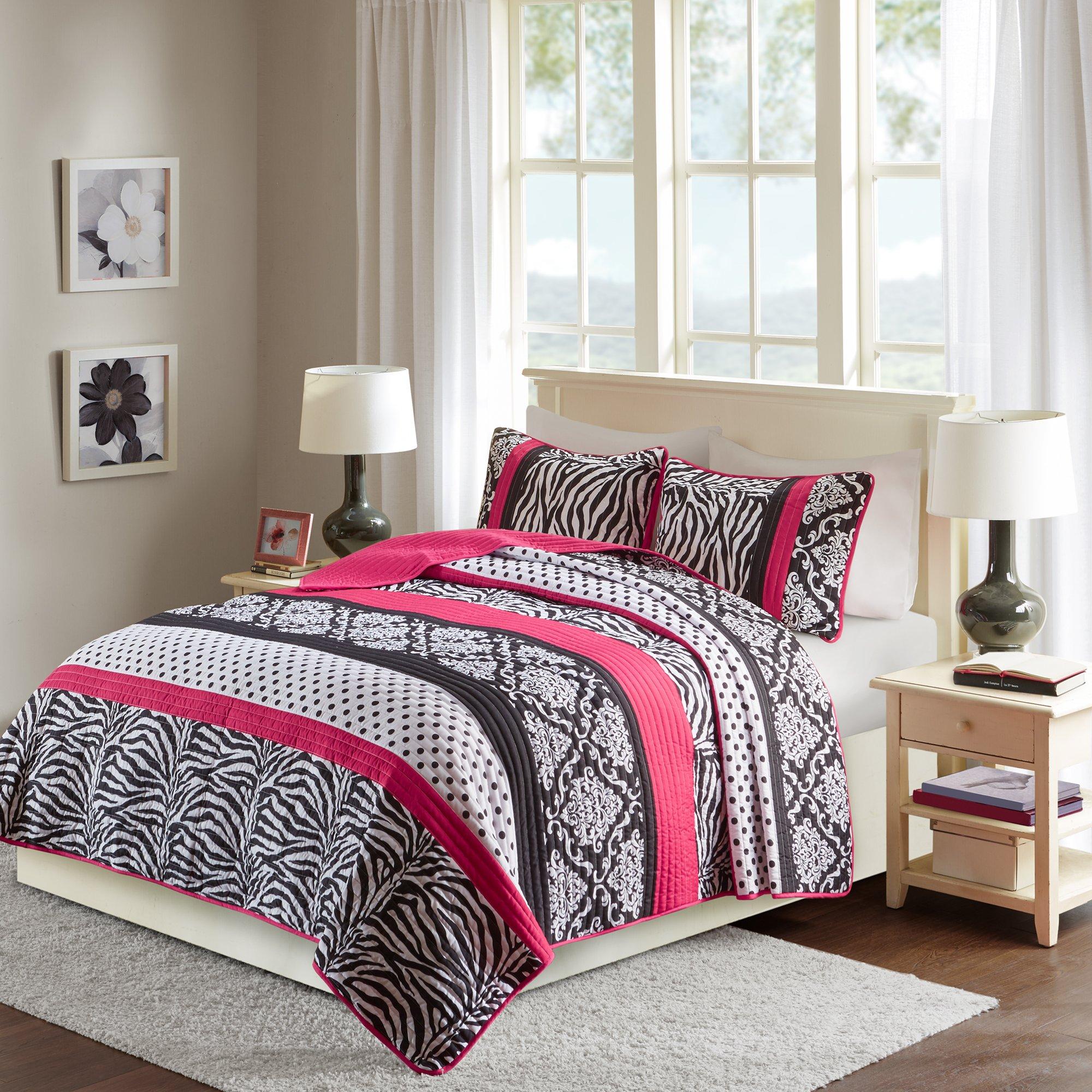 Quilt Set Full/Queen Bedding Set - Sally - Teen Girl 3 Pieces [ Hot Pink/Black Bedding ] Zebra, Damask, Polka Dot Print - Hypoallergenic Soft Microfiber All Season Twin Coverlet