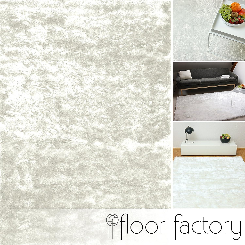 Floor factory Exklusiver Hochflor Shaggy Teppich Satin weiß 140x200 cm - edler, seidig glänzender Teppich