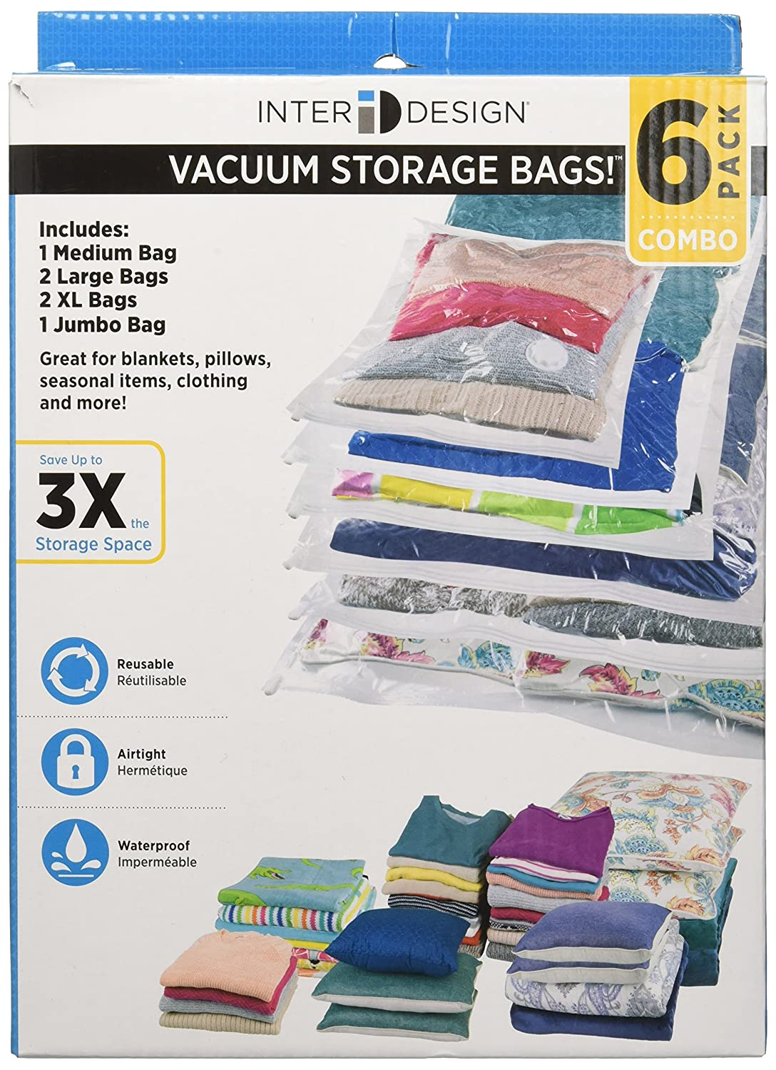 InterDesign 06180 Vacuum Storage Bags with Resealable Closure for Closets, Drawers-Pack of 2, Extra-Large XL, Alice