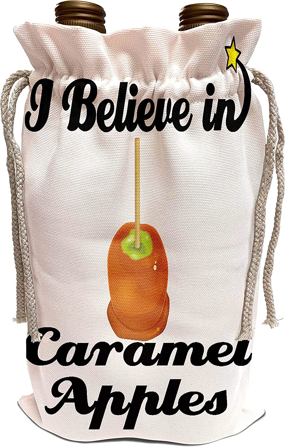 3dRose Dooni Designs I Believe In Designs - I Believe In Caramel Apples - Wine Bag (wbg_104945_1)