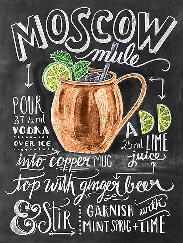 regalo para colocar en la pared de la cocina Placa de metal modelo Moscow Mule de la marca Shawprint