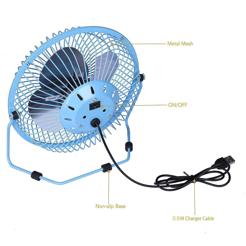 USB Ventilateur Mini Ventilateur Portable Silencieux Ventilateuren M/étal 6inch Economie d/énergie pour le Bureau /à Domicile