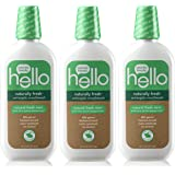 Hello Oral Care Naturally Fresh Antiseptic Fluoride Free Mouthwash, SLS Free Fresh Mint With Farm Grown Peppermint, 3…