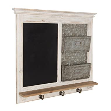 Kate and Laurel Idamae Wood Framed Chalkboard with Mail Holders and Key Hooks Wall Organizer, White