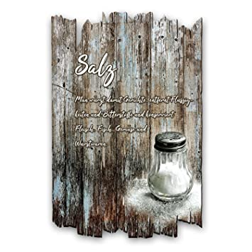 Kreative Feder Salz Gewurz Holzschild Mit Spruch Und Motiv