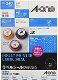 エーワン ラベルシール インクジェット 超耐水 光沢紙 24面丸型 10枚 64424
