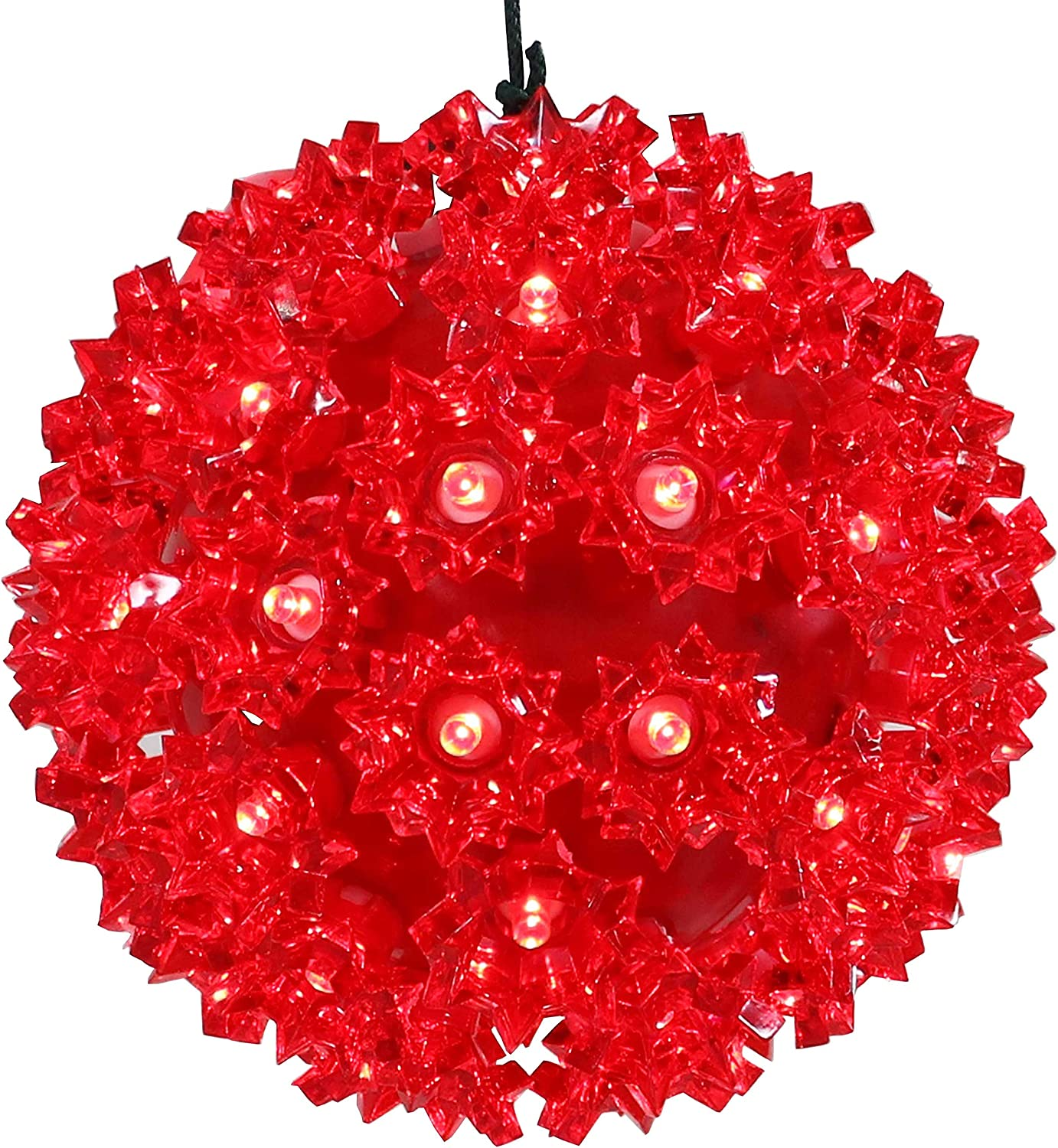 Sunnydaze 5-Inch Colored Lighted Ball Hanging Ornament - 50 LED Bulbs - UL-Listed Indoor/Outdoor Electric Plug-in Decor - Christmas and Holiday Decorations - Red
