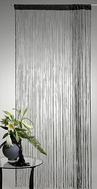 Lurex Fadenvorhang Schwarz 90x250cm Tur Fenster Gardine