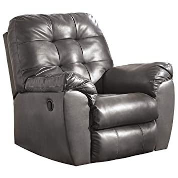Admirable Signature Design By Ashley Alliston Contemporary Faux Leather Rocker Recliner Pull Tab Reclining Gray Caraccident5 Cool Chair Designs And Ideas Caraccident5Info