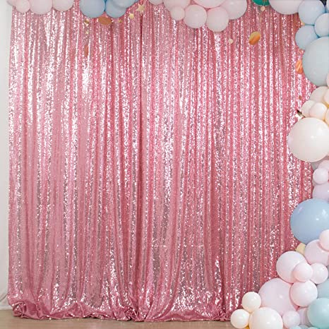 Pink Sequin Photography Backdrop Glitter Photo Booth Backdrop for Party Wedding Decoration 2FTx8FT 4Pieces