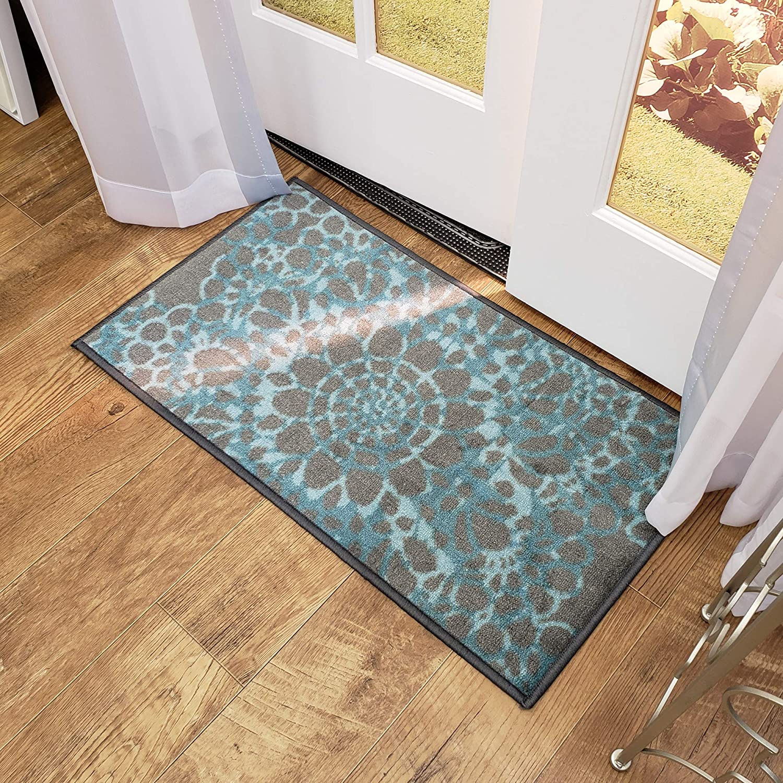 "Maxy Home Adaline Medallion Soft Cut Pile Non Slip 18"" x 31"" New Trend Indoor Door Mat, Grey Blue"