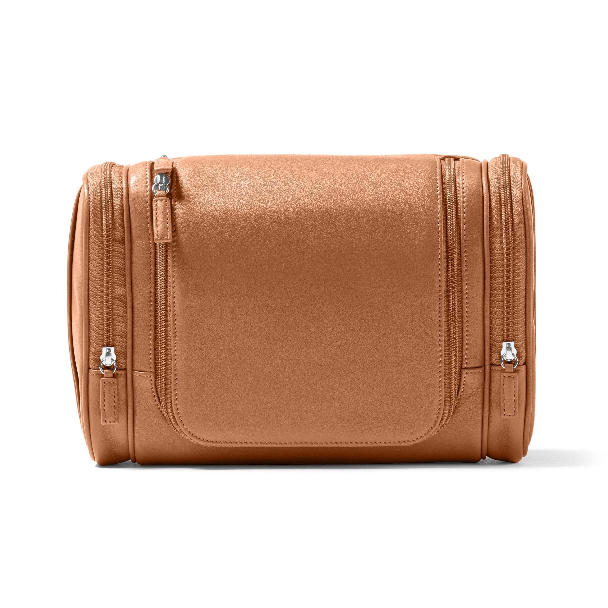 Leatherology Multi Pocket Hanging Toiletry - Full Grain Leather - Cognac (brown)