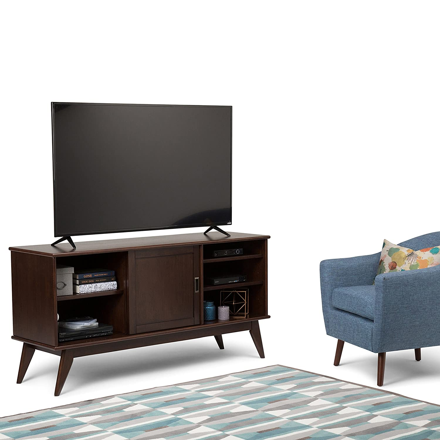 Simpli Home 3AXCDRP-08 Draper Solid Hardwood 60 inch wide Mid Century Modern TV media Stand in Medium Auburn Brown For TVs up to 65 inches