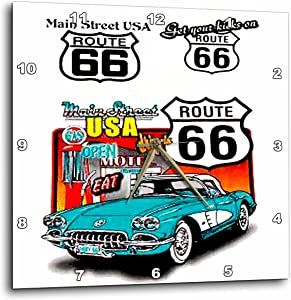 3dRose Route 66 Wall Clock, 10 by 10-Inch