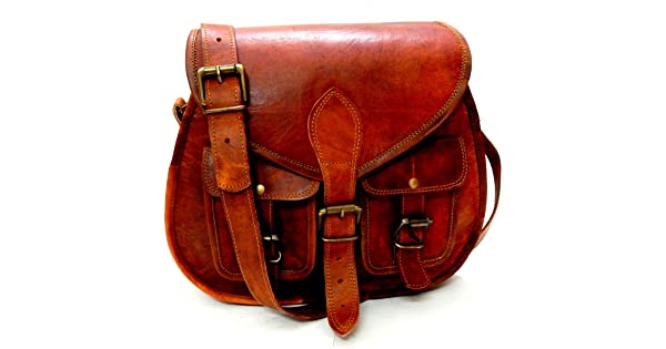 1f0713c3c14d Firu-Handmade Women Vintage Style Genuine Brown Leather Crossbody Shoulder  Bag Handmade Purse