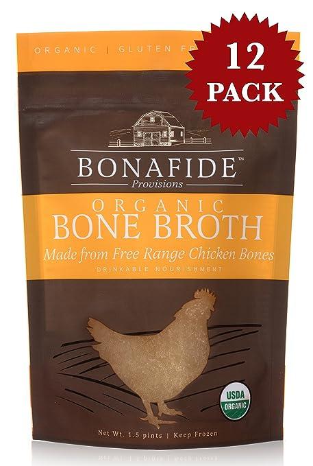 Bonafide Provisions Organic Chicken Bone Broth. Non GMO Small Batch Chicken Broth (Frozen. 12 pack).