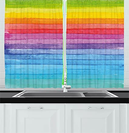 amazon com ambesonne abstract decor kitchen curtains by rainbow