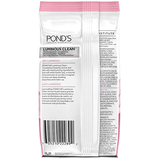 Ponds Moisture Clean Towelettes, Luminous Clean 28 ct (Pack of 3)