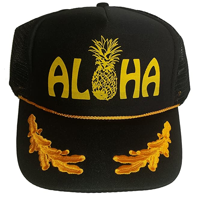 48fab57af6f Amazon.com  Aloha Pineapple Mesh Snapback Trucker Hat Cap Gold Leaf ...