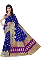 Vatsla Enterprise Women's Cotton Silk Saree With Blouse Piece (Vapex107Bluepurple_Blue-Purple)