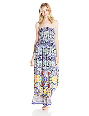 dd2305dfc8d27 Angie Women s Blue Printed Smocked Bodice Maxi Dress at Amazon Women s  Clothing store