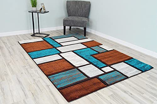 PlanetRugs Inc Premium 3D Effect Hand Carved Modern Abstract 5×7 Colorful Luxury Rug for Bedroom, Living Room, Dining Room Contemporary Carpet 3995 Brown Turquoise