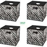 [4pack Zebra Pattern] Large Storage Bins, Containers, Boxes, Tote, Baskets| Collapsible Storage Cubes Household Organization |Beautiful Style for boy girl | Storages Drawer (Zebra Pattern 4pack Large)