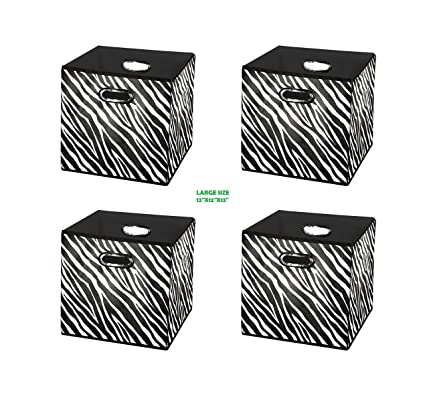 Amazoncom 4pack Zebra Pattern Large Storage Bins Containers