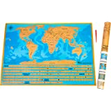 DELUXE TRACK AND SCRATCH OFF YOUR TRAVELS MAP, 50 Individual States of the US. World Travel Map with all Oceans and individual Country flags, BONUS Scratch off Pen, Ideal Gift Idea for Men and Women.