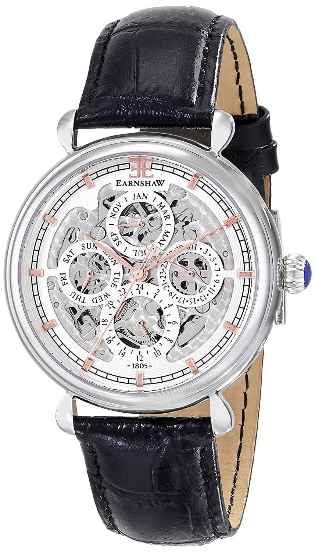Earnshaw Herren ES-8043-02 Grand Calendar Analog Display Automatic Self Wind Black Armbanduhr
