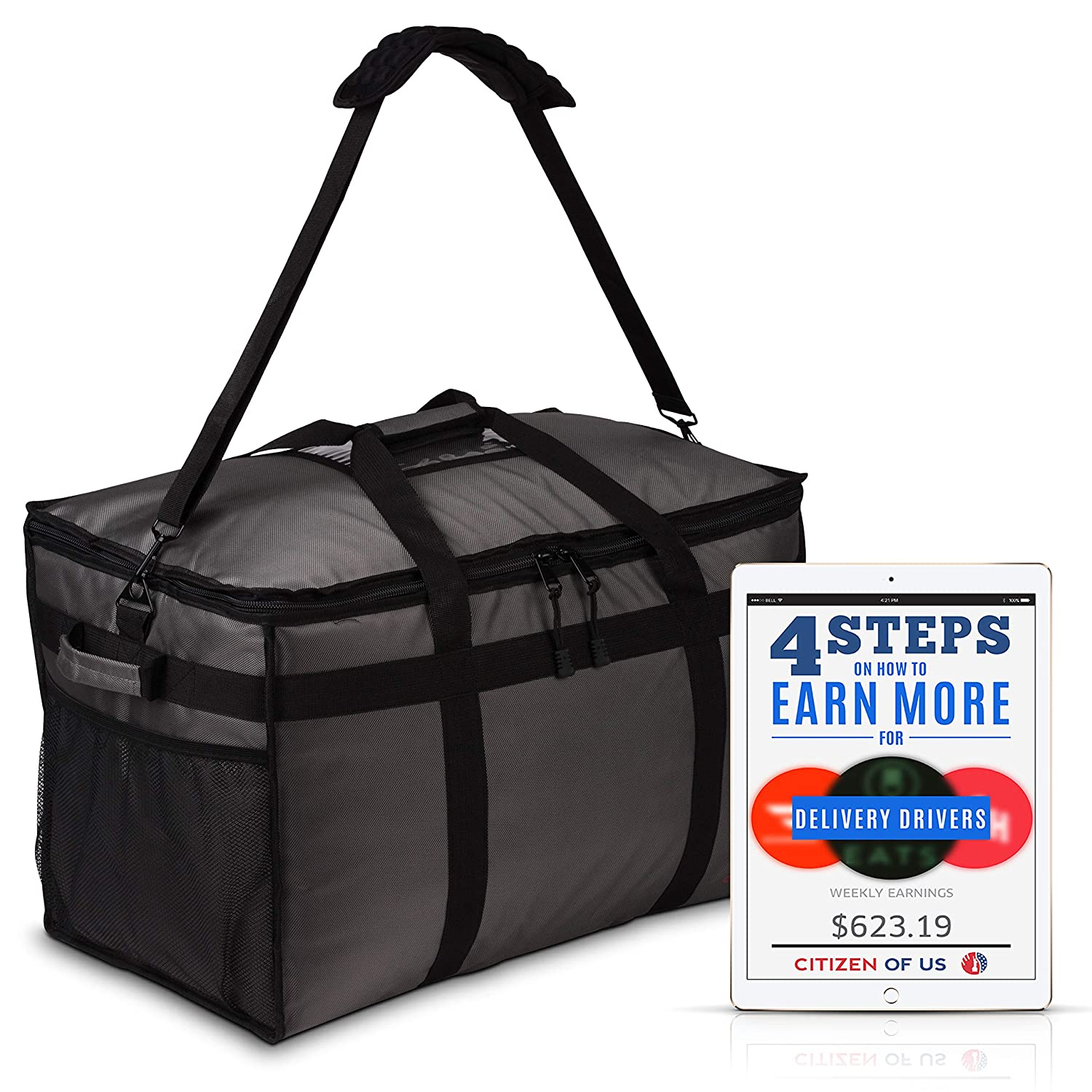 B07LH4VPTV VIP Uber EATS Insulated Catering Delivery Bag - Food Delivery Game Changer - for Doordash, Grubhub, Postmates Food Delivery 91a-oqx6NCL