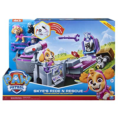 Paw Patrol Skye's Ride N Rescue, 2-in-1 Transforming Playset and Helicopter, for Kids Aged 3 and Up, Multicolor (20114099): Toys & Games