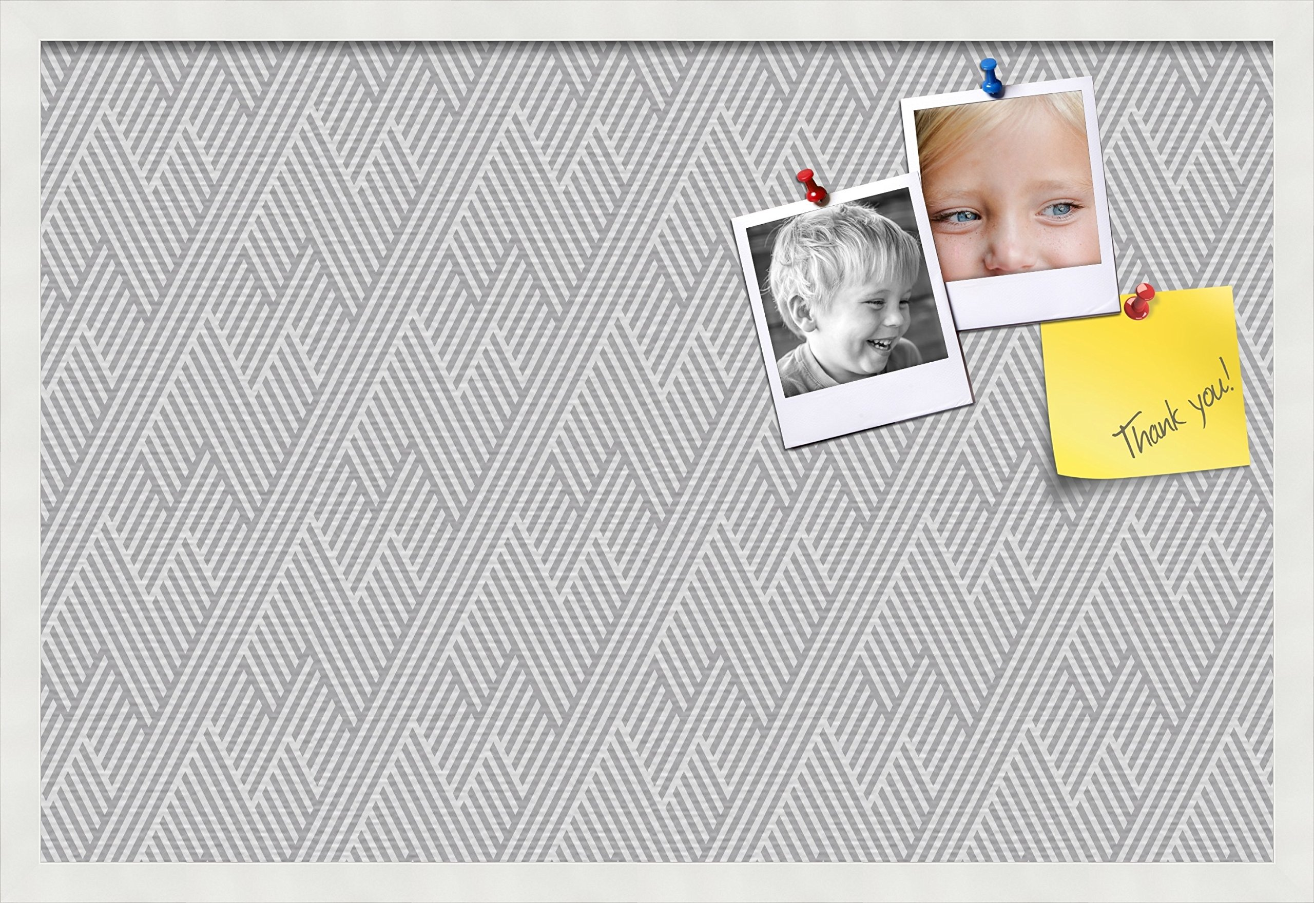 PinPix custom printed pin cork bulletin board made from canvas, Modeco Zig Zag Grey 30x20 Inches (Completed Size) and framed in Satin White Frame (PinPix-Group-65)