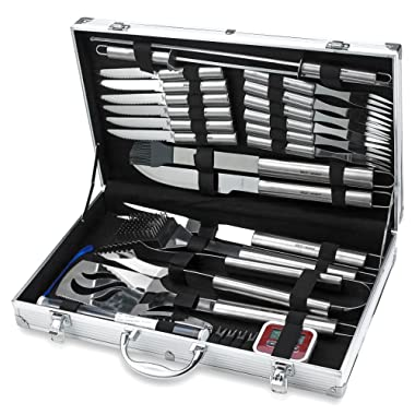 31 Piece Stainless Steel BBQ Accessories Tool Set - Includes Aluminum Storage Case for Barbecue Grill Utensils- by Kitch N' Wares