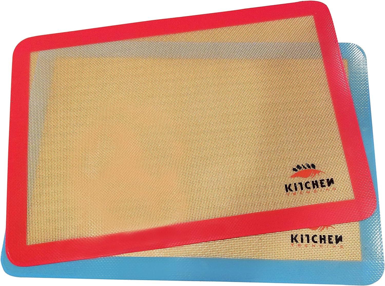 Premium Non-Stick Silicone Baking Mat Set, BPA Free, 2 US half sheets