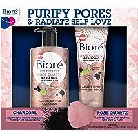 Bioré Rose Quartz Charcoal Daily Purifying Cleanser (6.77 Ounces) + Gentle Pore Refining Scrub (4 Ounces), Face Wash…