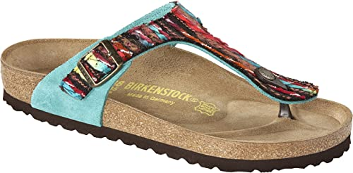 Birkenstock Gizeh Femmes Turquoise Cuir Tong, EU 38: Amazon