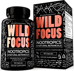 Wild Foods Focus Nootropic Supplement - with Gingko Biloba, Lions Mane Mushroom Powder, & Bacopa Monnieri - Nootropics & Natural Botanicals to Support Focus, Clarity, & Cognitive Ability - 60 Caps