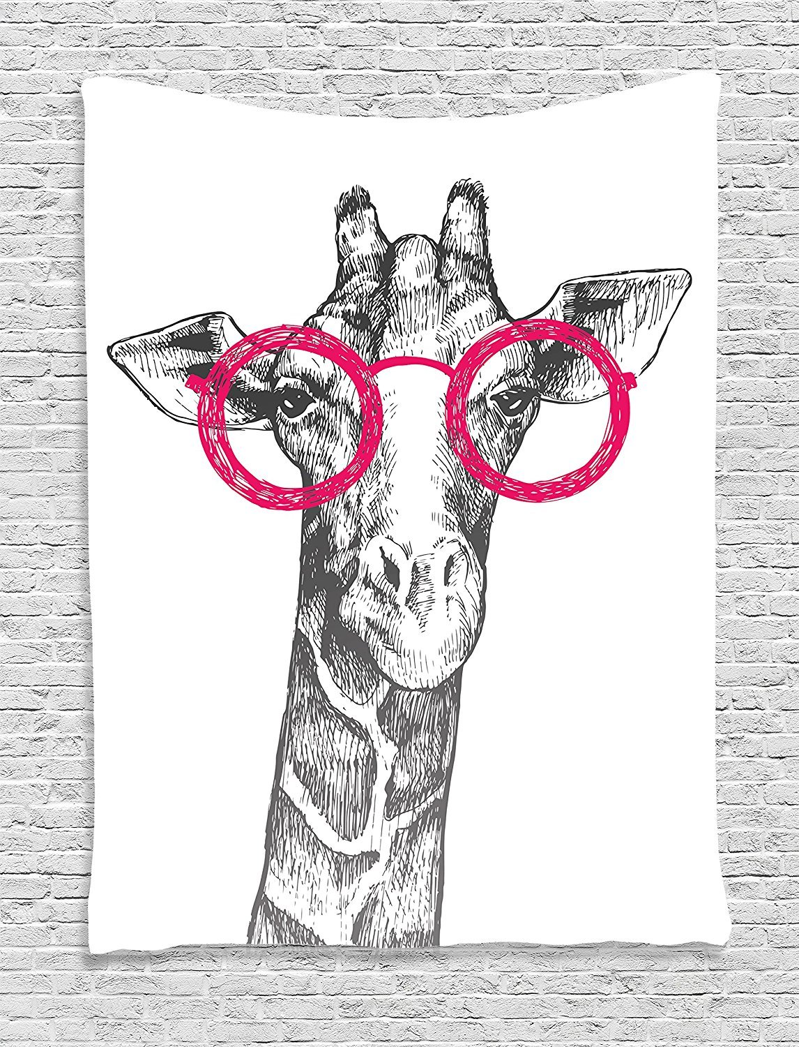 asddcdfdd Funny Decor Tapestry, Cute Hipster Animal Retro Fashion Round Glasses Summer Time Love Hand Drawn Style Print, Bedroom Living Room Dorm Decor, 40 W x 60 L Inches, White Pink