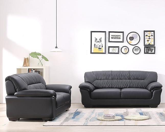 Amazon.de: Design Voll-Leder-Sofa-Garnitur-Polstermöbel ...