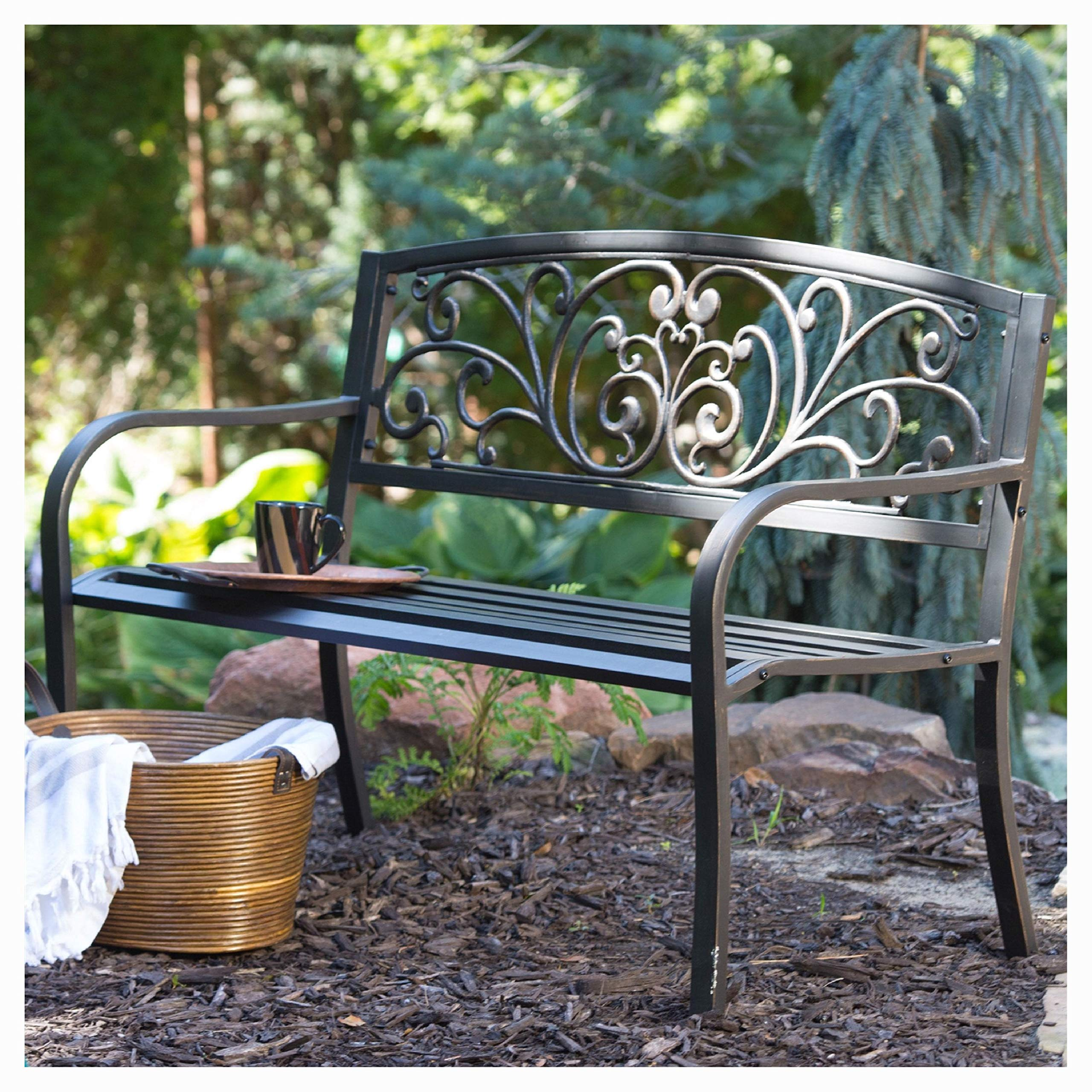 Garden Benches, Curved Metal Garden Bench with Heart Pattern in Black Antique Bronze Finish by HEATAPPLY