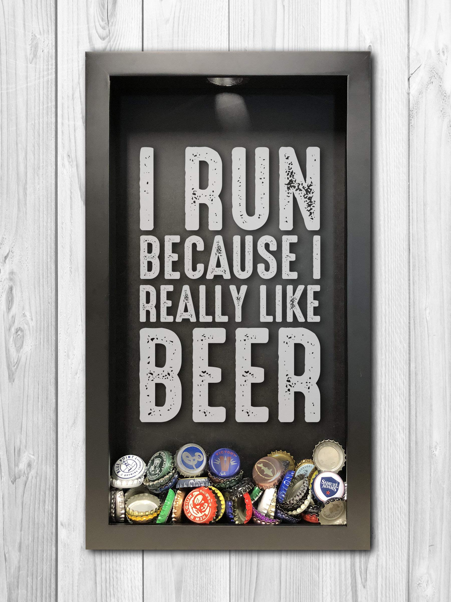 Run for Beer, Bottle Cap Shadow Box, Mens Gift Ideas, Fathers Day Gift